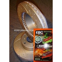 DRILLED & SLOTTED & EBC CERAMIC PADS Territory TURBO Front Disc Brake Rotors