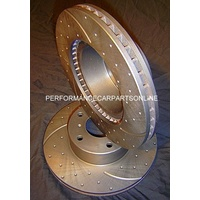 DRILLED & SLOTTED Ford Falcon XW XY XA XB Front Disc Brake Rotors NEW PAIR