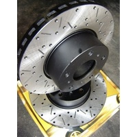 CROSS DRILLED & SLOTTED Ford BA BF FG Front Drilled Slotted Rotors inc XR6 XR8