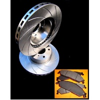 "R SLOT fits MITSUBISHI RVR 4 Cyl With 14"" Wheels 94-97 FRONT Disc Rotors & PADS"